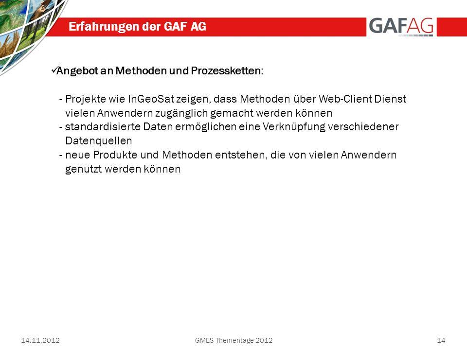 Erfahrungen der GAF AG Angebot an Methoden und Prozessketten: