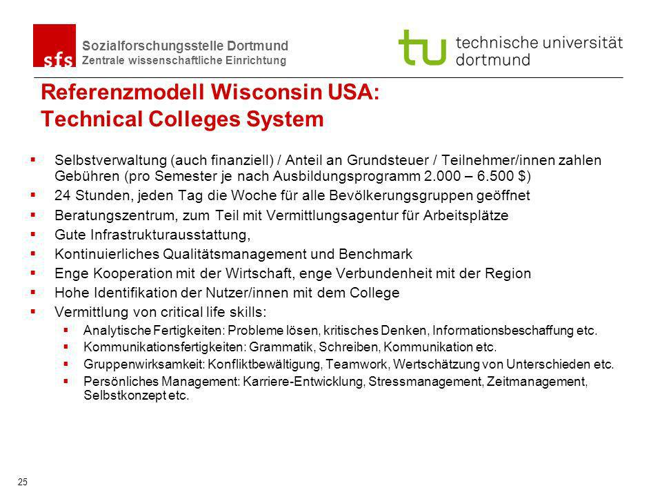 Referenzmodell Wisconsin USA: Technical Colleges System