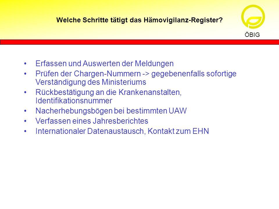 Welche Schritte tätigt das Hämovigilanz-Register