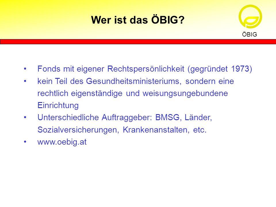 Wer ist das ÖBIG ÖBIG. Fonds mit eigener Rechtspersönlichkeit (gegründet 1973)