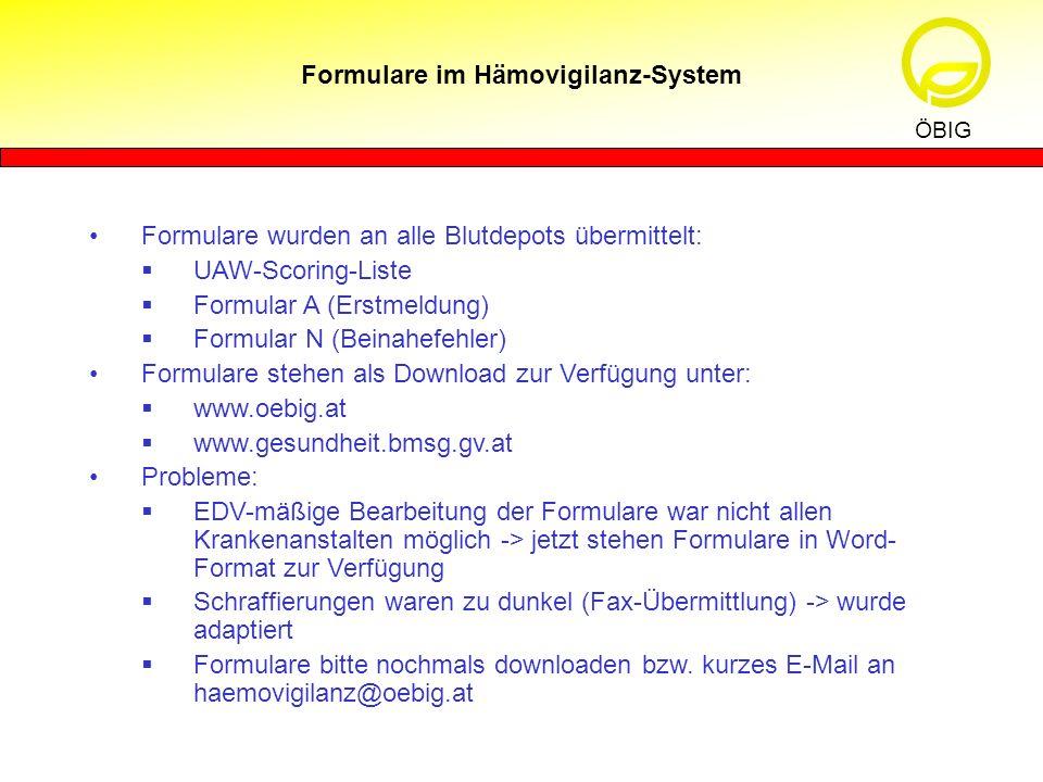 Formulare im Hämovigilanz-System