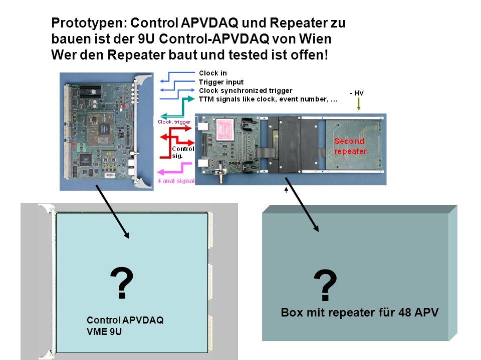 Prototypen: Control APVDAQ und Repeater zu bauen ist der 9U Control-APVDAQ von Wien Wer den Repeater baut und tested ist offen!