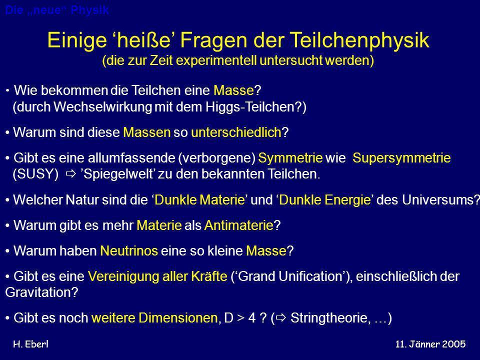 Einige 'heiße' Fragen der Teilchenphysik