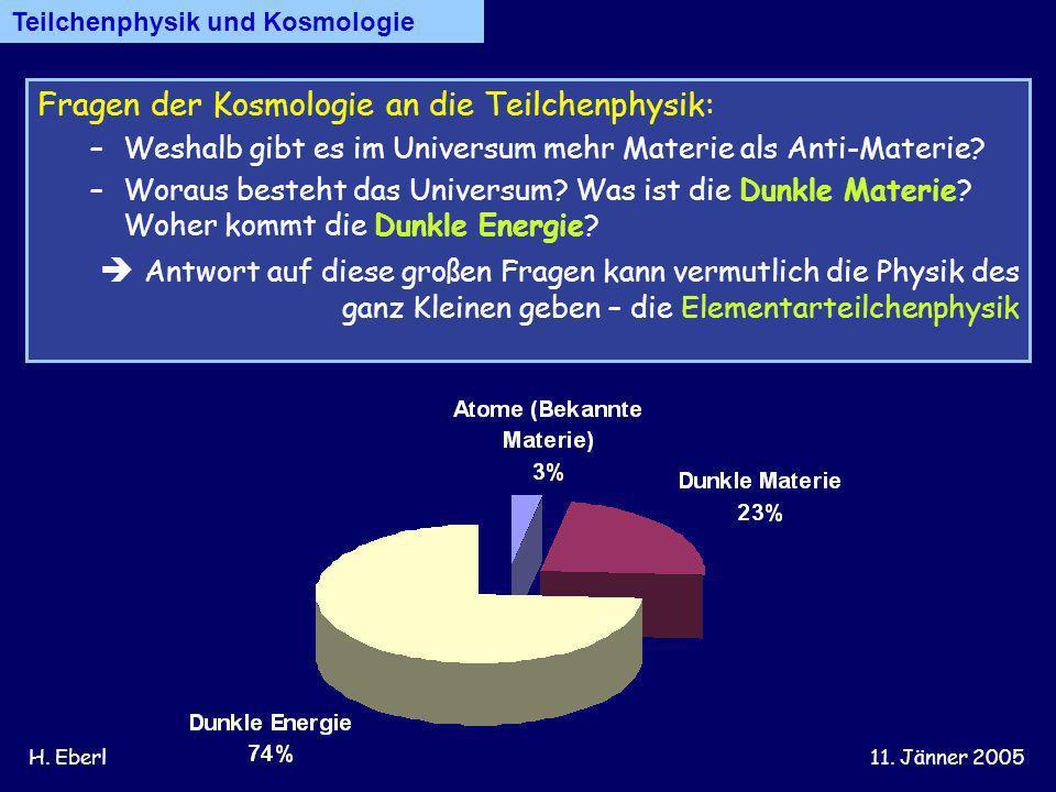Fragen der Kosmologie an die Teilchenphysik: