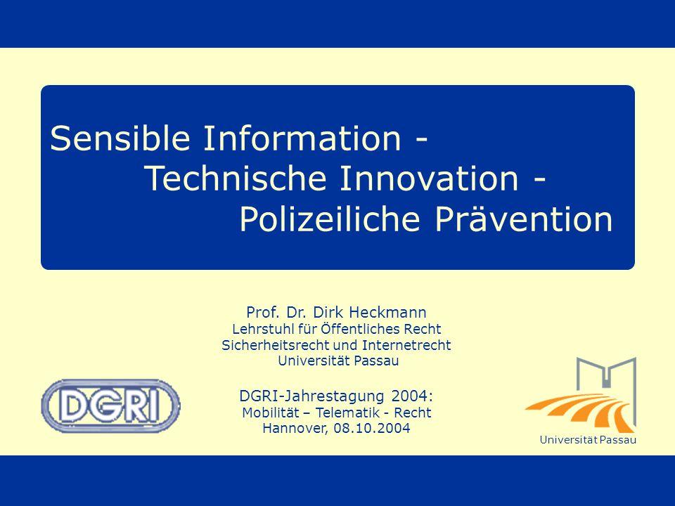 Sensible Information - Technische Innovation - Polizeiliche Prävention
