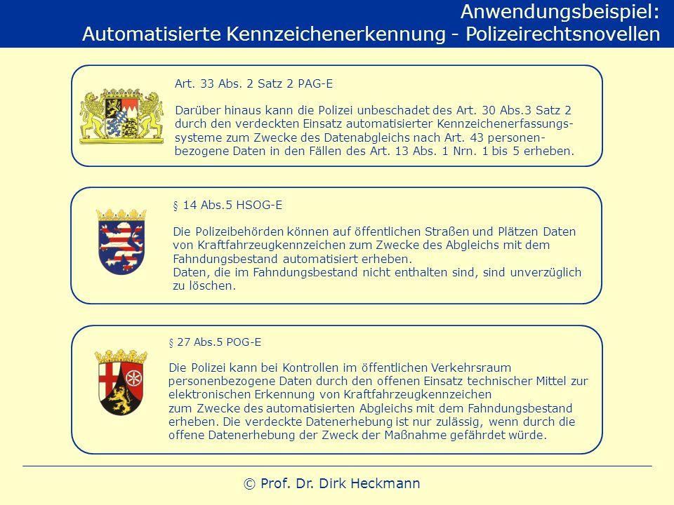 Automatisierte Kennzeichenerkennung - Polizeirechtsnovellen