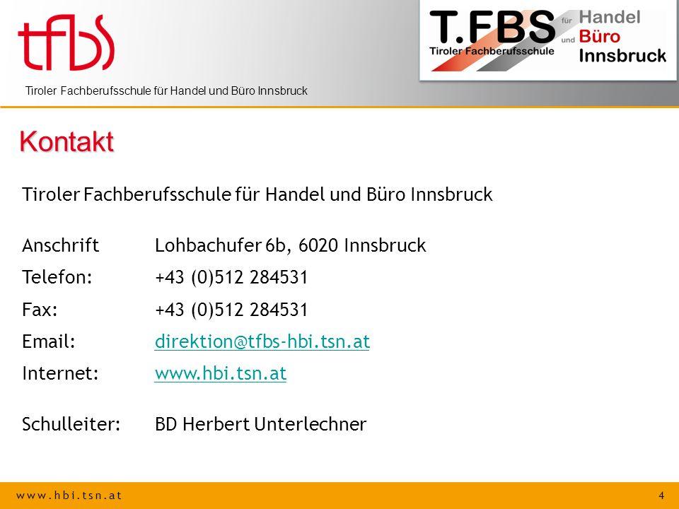 Kontakt Tiroler Fachberufsschule für Handel und Büro Innsbruck