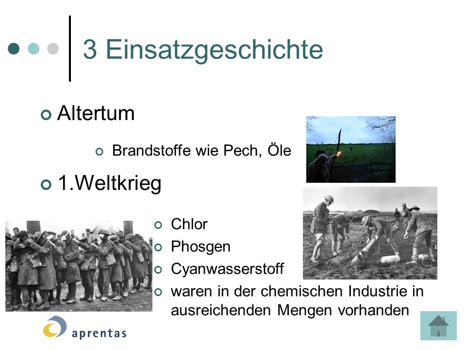 3 Einsatzgeschichte Altertum 1.Weltkrieg Brandstoffe wie Pech, Öle