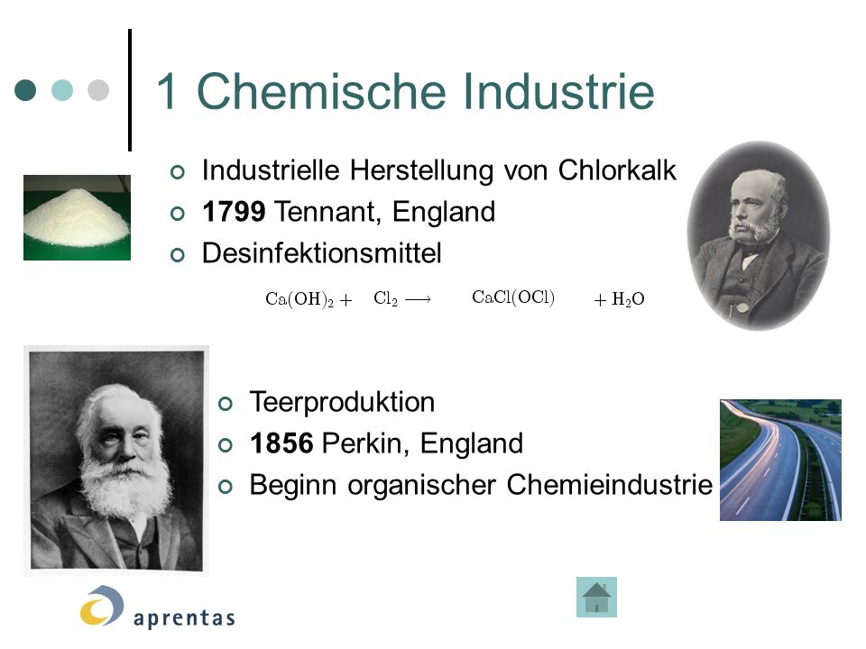 1 Chemische Industrie Industrielle Herstellung von Chlorkalk
