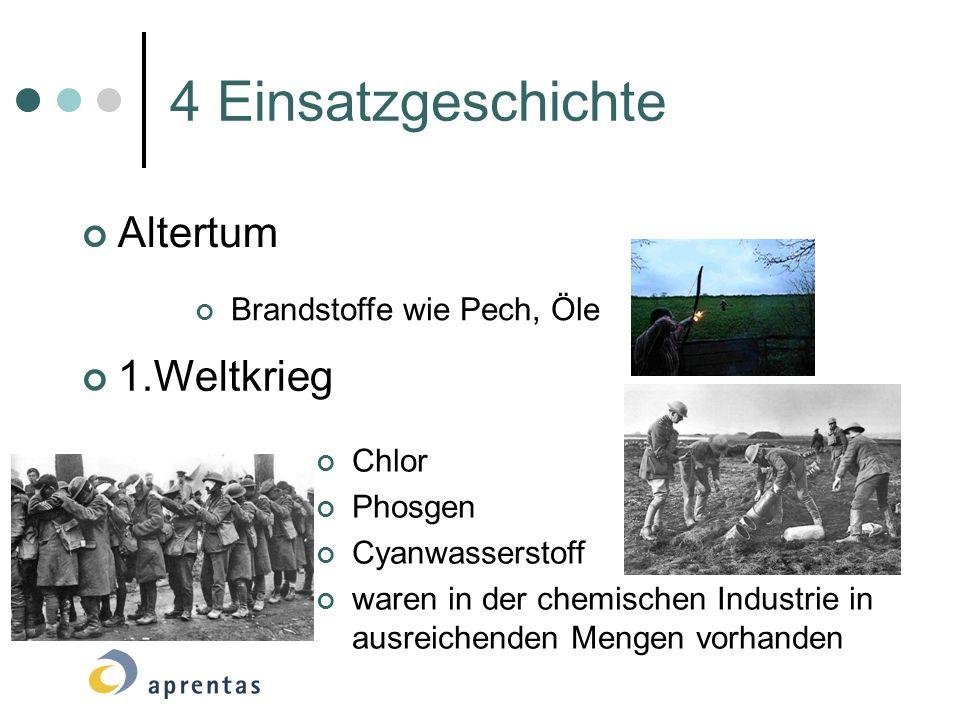 4 Einsatzgeschichte Altertum 1.Weltkrieg Brandstoffe wie Pech, Öle