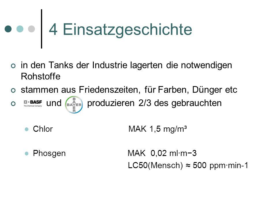4 Einsatzgeschichte in den Tanks der Industrie lagerten die notwendigen Rohstoffe. stammen aus Friedenszeiten, für Farben, Dünger etc.