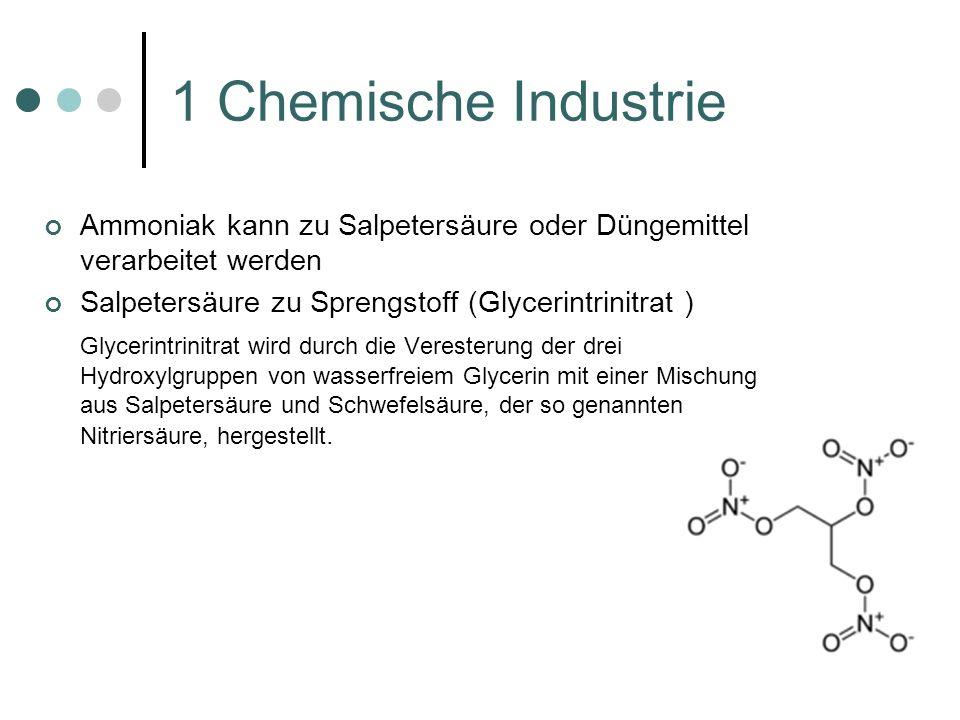 1 Chemische Industrie Ammoniak kann zu Salpetersäure oder Düngemittel verarbeitet werden. Salpetersäure zu Sprengstoff (Glycerintrinitrat )