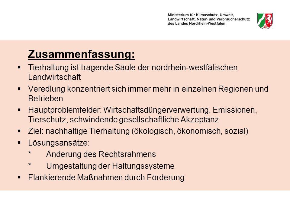 Zusammenfassung: Tierhaltung ist tragende Säule der nordrhein-westfälischen Landwirtschaft.