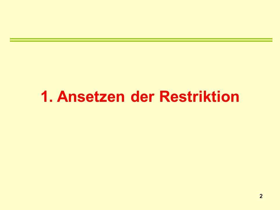 1. Ansetzen der Restriktion