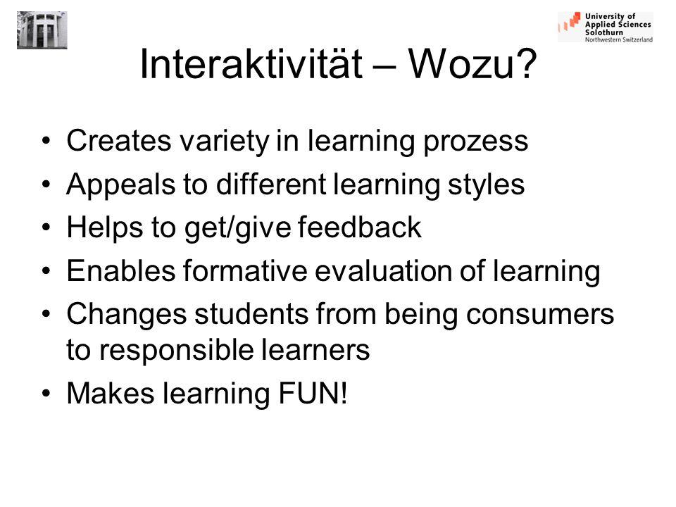 Interaktivität – Wozu Creates variety in learning prozess