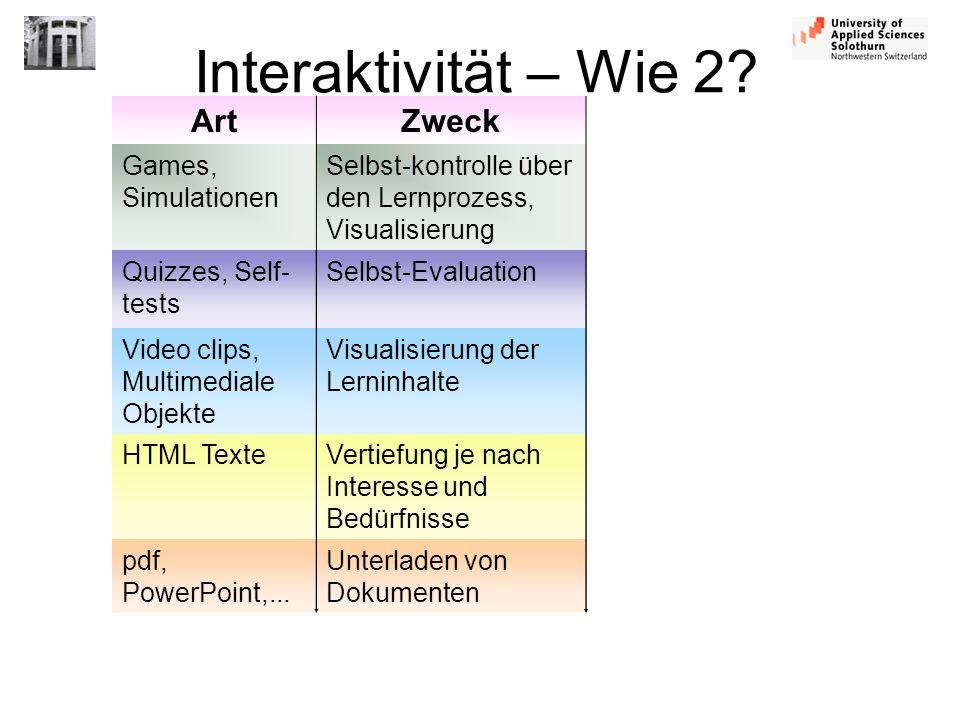 Interaktivität – Wie 2 Art Zweck Games, Simulationen