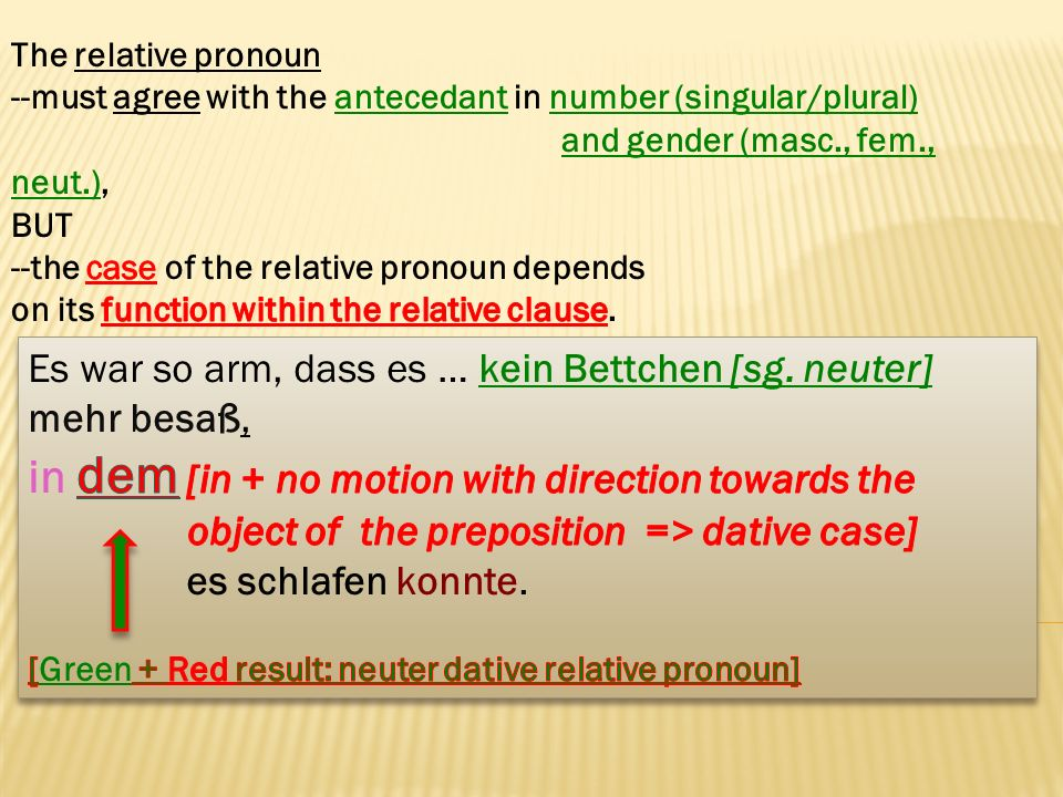 The relative pronoun --must agree with the antecedant in number (singular/plural) and gender (masc., fem., neut.),
