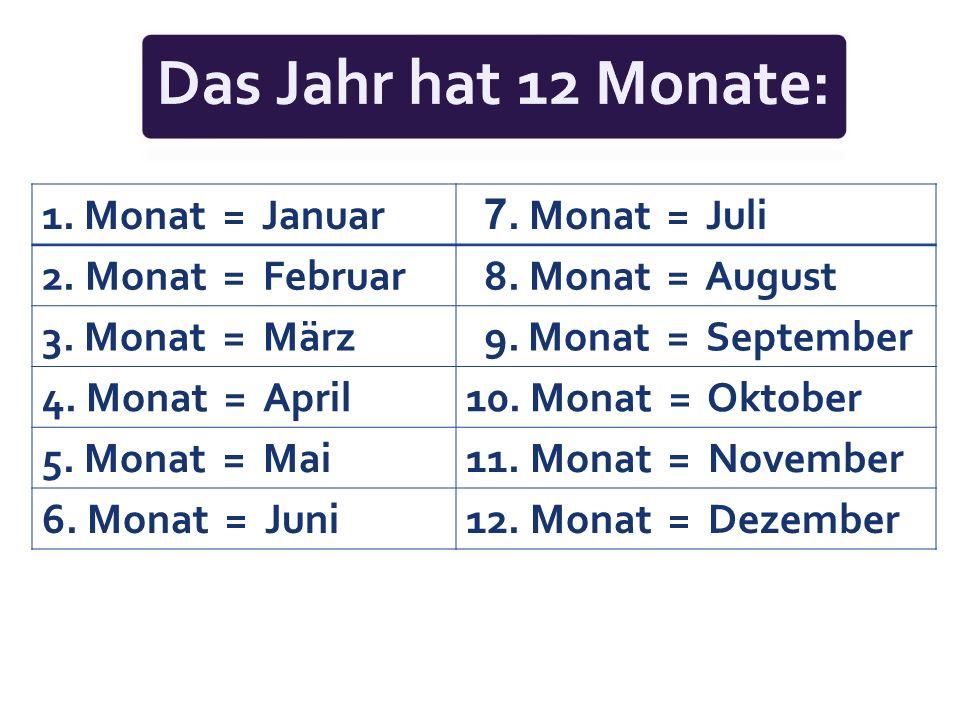 Das Jahr hat 12 Monate: 1. Monat = Januar 7. Monat = Juli