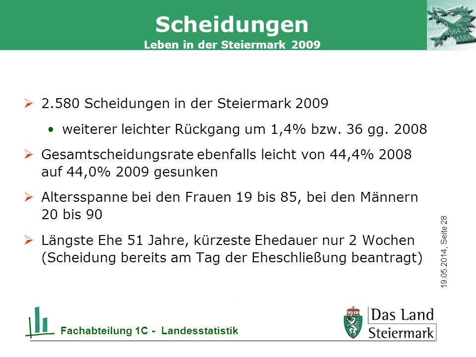 Scheidungen 2.580 Scheidungen in der Steiermark 2009