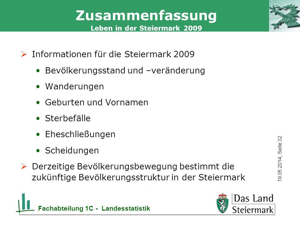 Zusammenfassung Informationen für die Steiermark 2009
