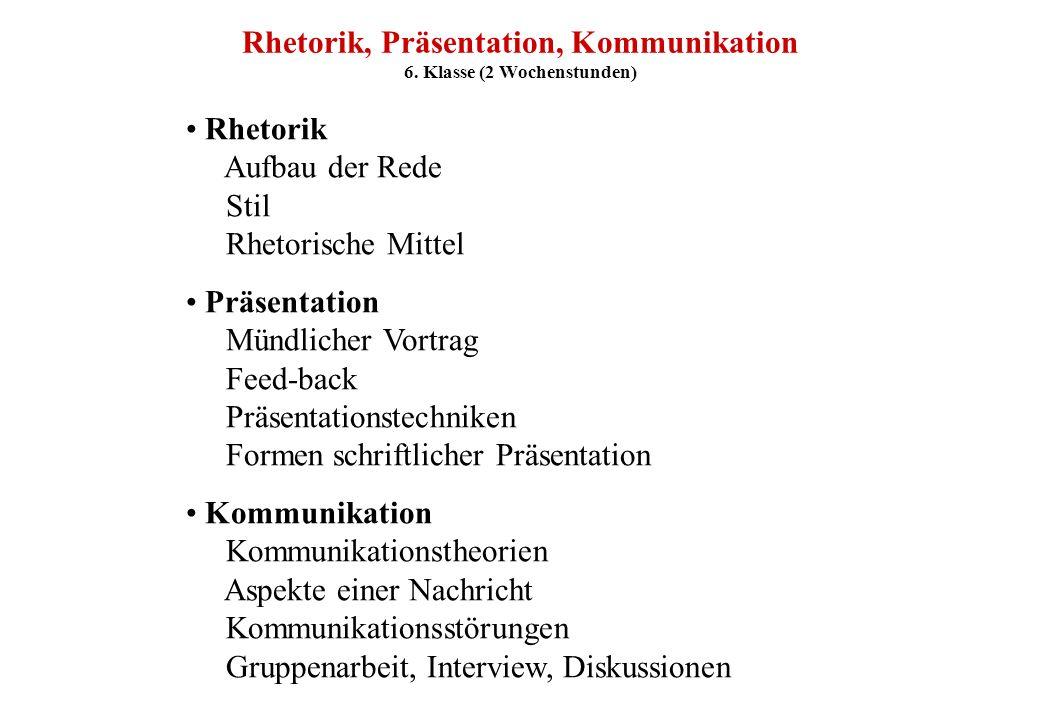 Rhetorik, Präsentation, Kommunikation 6. Klasse (2 Wochenstunden)