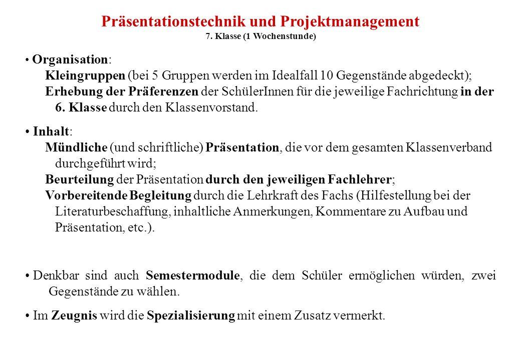 Präsentationstechnik und Projektmanagement 7. Klasse (1 Wochenstunde)