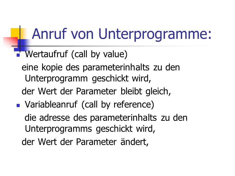 Anruf von Unterprogramme: