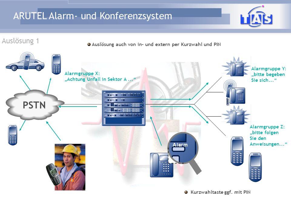"""Auslösung 1 Auslösung auch von in- und extern per Kurzwahl und PIN. Alarmgruppe X: """"Achtung Unfall in Sektor A ..."""