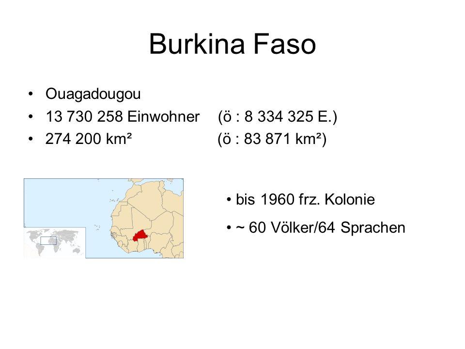 Burkina Faso Ouagadougou 13 730 258 Einwohner (ö : 8 334 325 E.)