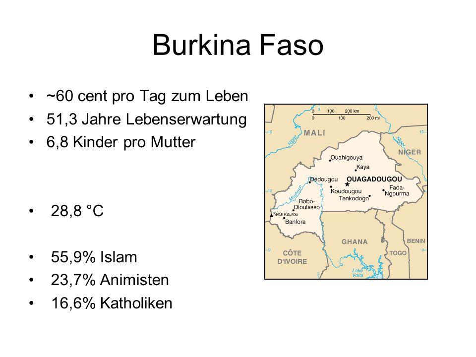 Burkina Faso ~60 cent pro Tag zum Leben 51,3 Jahre Lebenserwartung