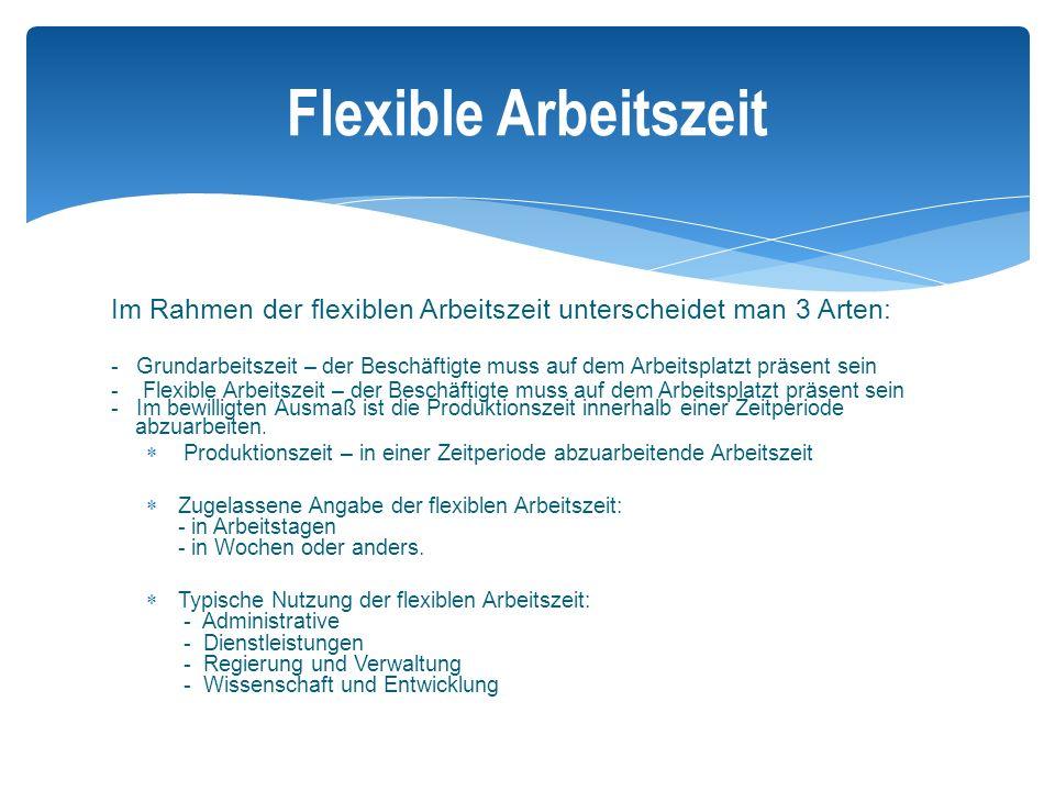 Flexible Arbeitszeit Im Rahmen der flexiblen Arbeitszeit unterscheidet man 3 Arten: