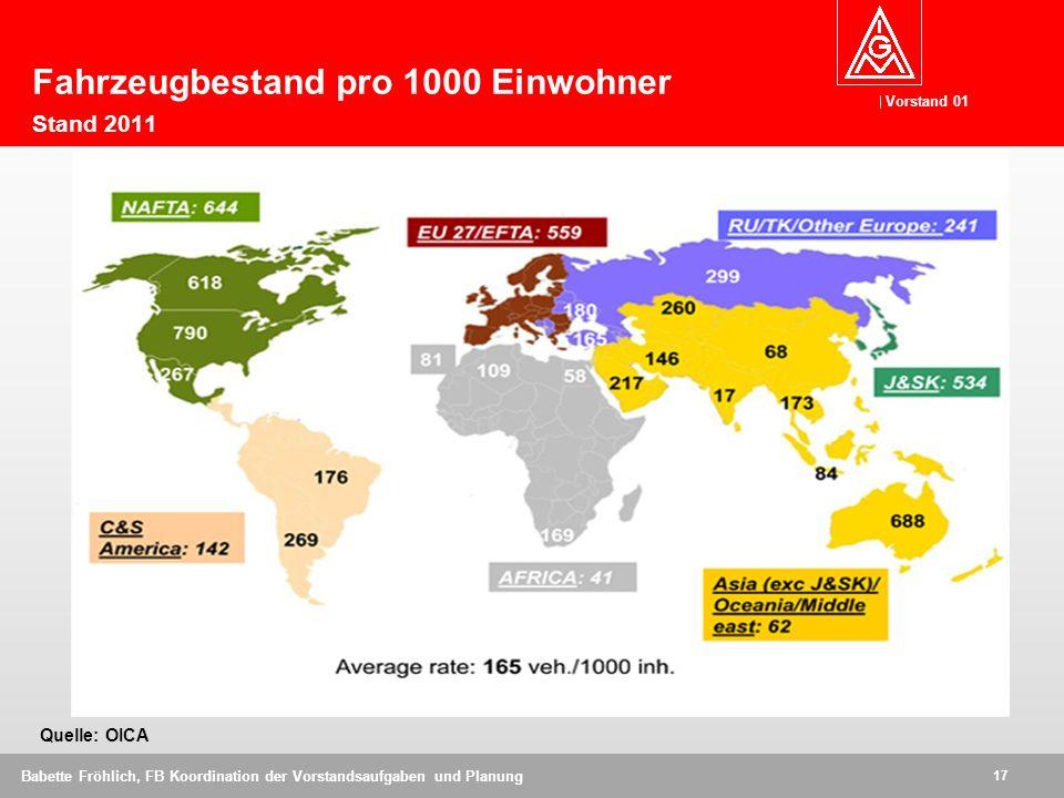 Fahrzeugbestand pro 1000 Einwohner Stand 2011