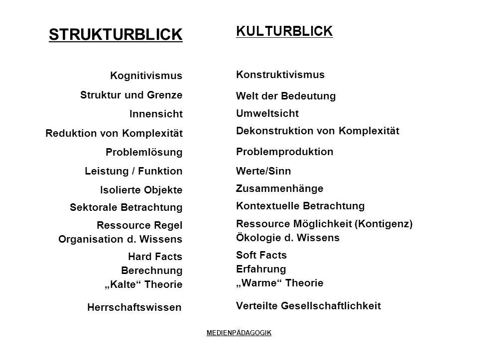 STRUKTURBLICK KULTURBLICK Kognitivismus Konstruktivismus