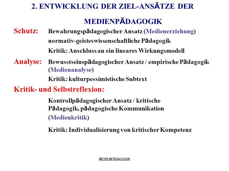 2. ENTWICKLUNG DER ZIEL-ANSÄTZE DER MEDIENPÄDAGOGIK