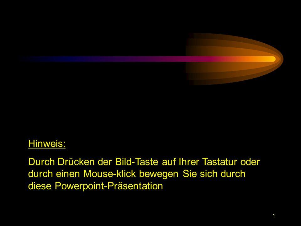 Hinweis: Durch Drücken der Bild-Taste auf Ihrer Tastatur oder durch einen Mouse-klick bewegen Sie sich durch diese Powerpoint-Präsentation.