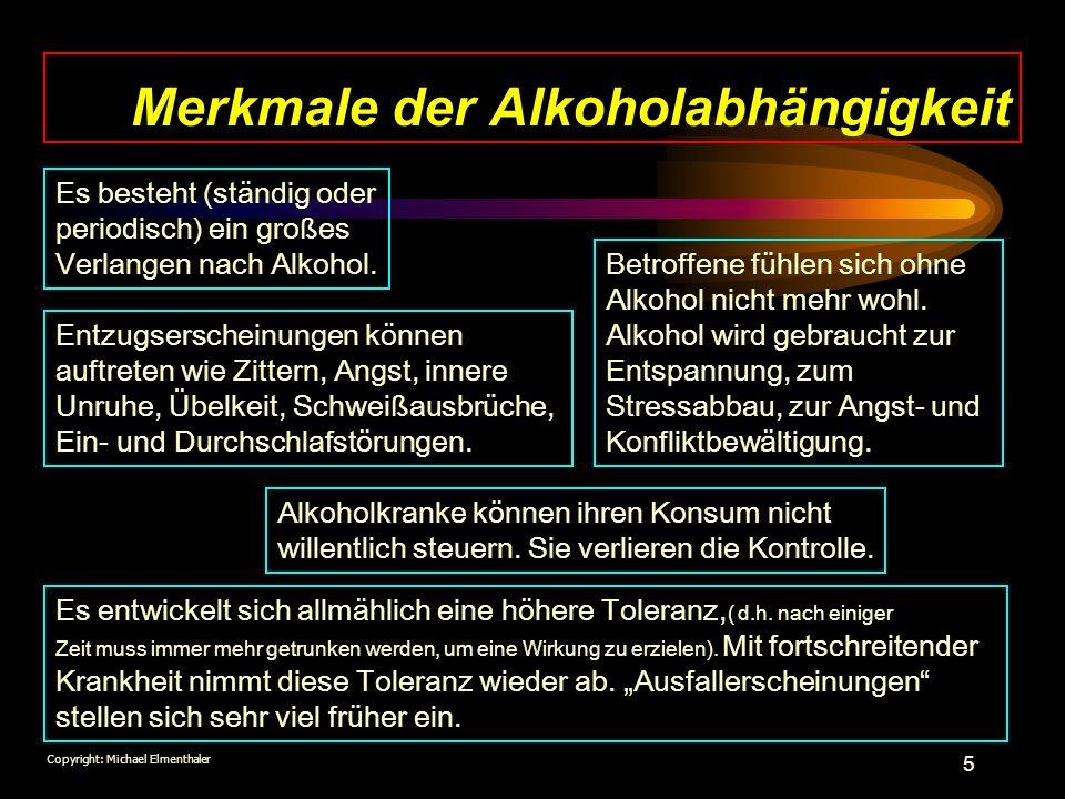 Merkmale der Alkoholabhängigkeit