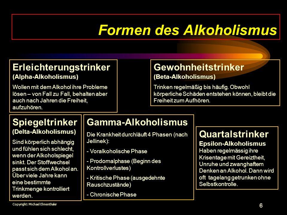 Formen des Alkoholismus