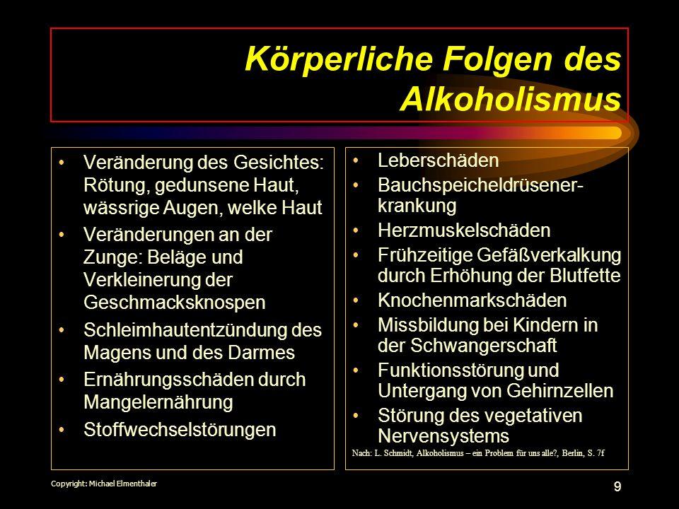 Körperliche Folgen des Alkoholismus