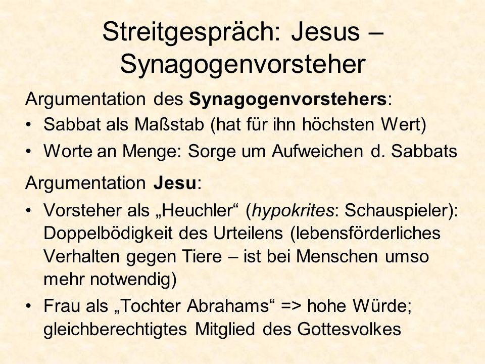 Streitgespräch: Jesus – Synagogenvorsteher