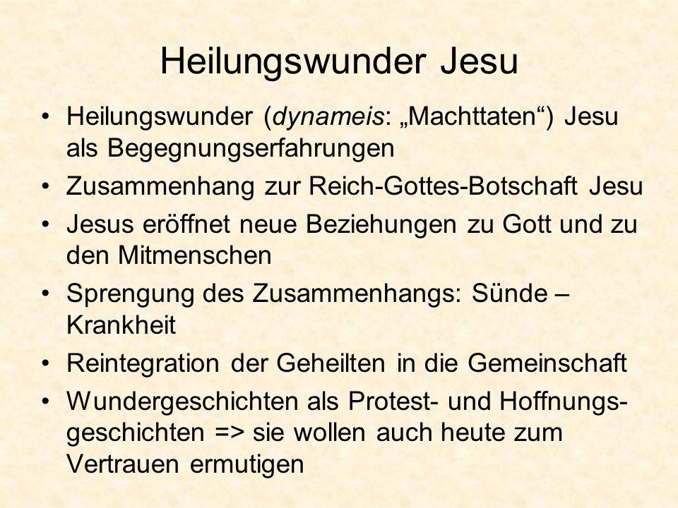 """Heilungswunder Jesu Heilungswunder (dynameis: """"Machttaten ) Jesu als Begegnungserfahrungen. Zusammenhang zur Reich-Gottes-Botschaft Jesu."""
