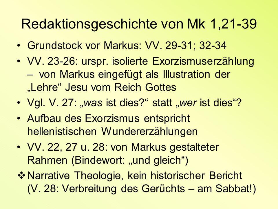 Redaktionsgeschichte von Mk 1,21-39