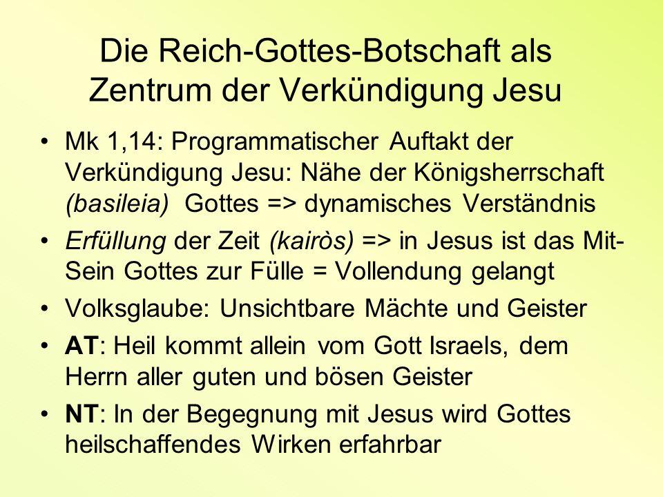 Die Reich-Gottes-Botschaft als Zentrum der Verkündigung Jesu