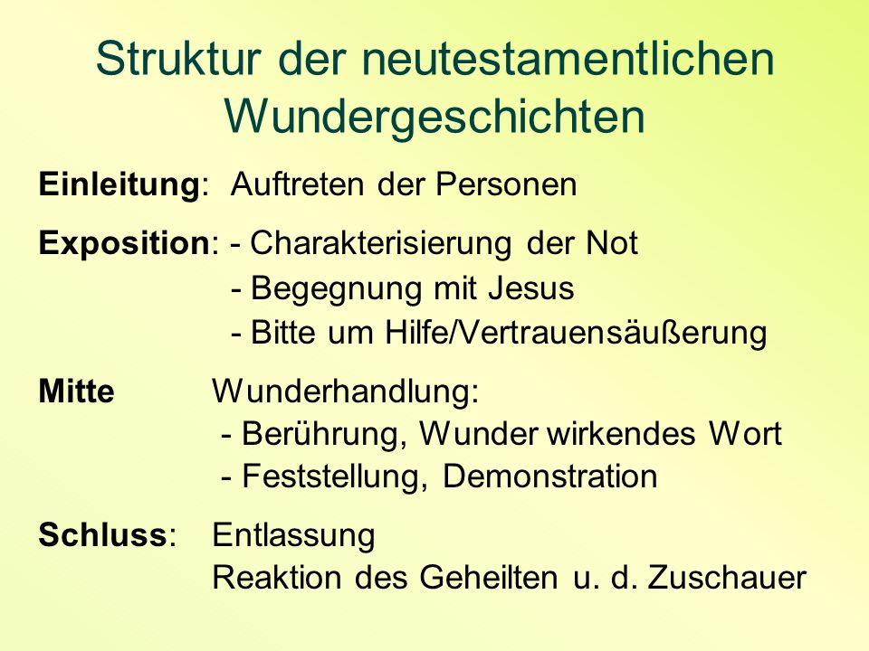 Struktur der neutestamentlichen Wundergeschichten