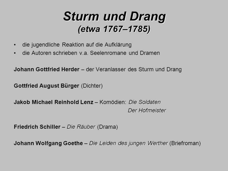 Sturm und Drang (etwa 1767–1785)