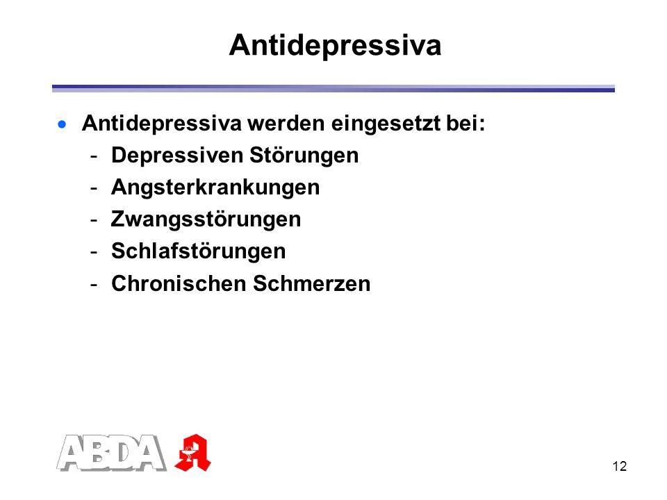 Antidepressiva Antidepressiva werden eingesetzt bei:
