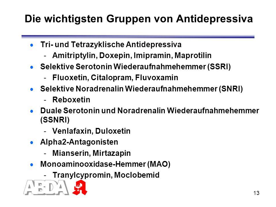 Die wichtigsten Gruppen von Antidepressiva