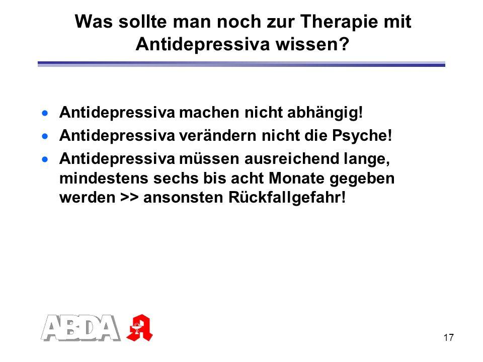 Was sollte man noch zur Therapie mit Antidepressiva wissen