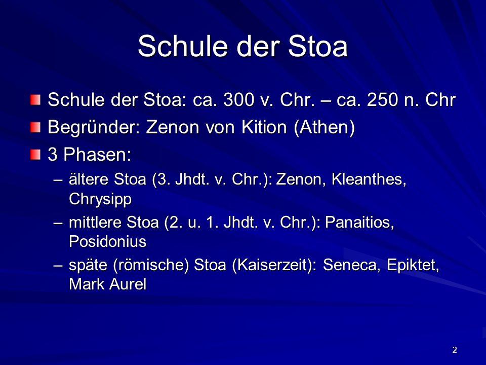 Schule der Stoa Schule der Stoa: ca. 300 v. Chr. – ca. 250 n. Chr