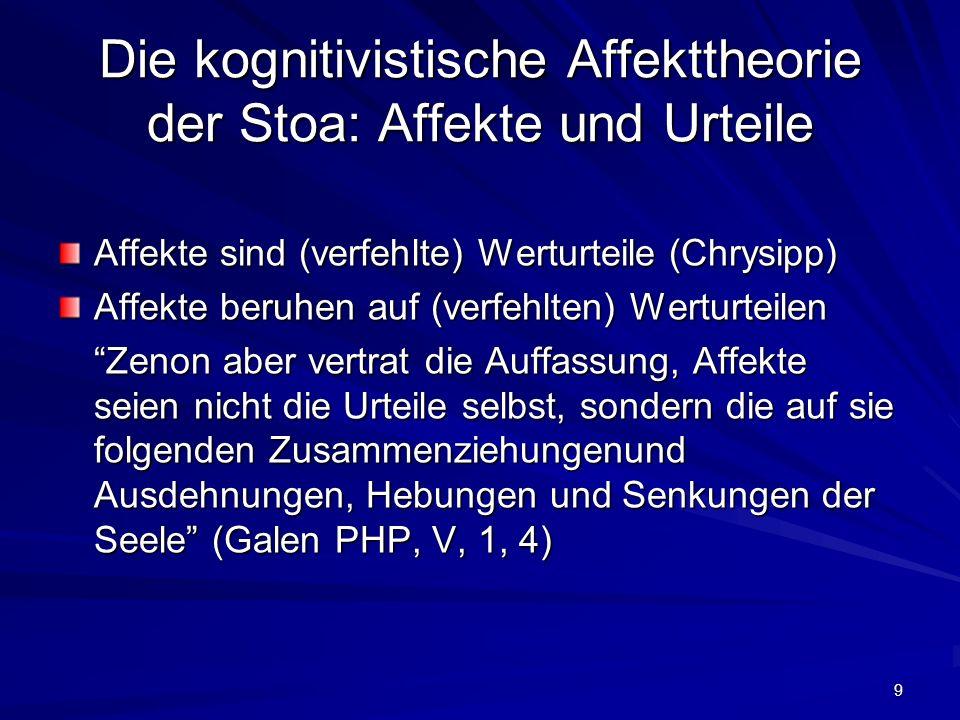Die kognitivistische Affekttheorie der Stoa: Affekte und Urteile