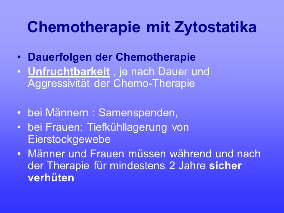 Chemotherapie mit Zytostatika